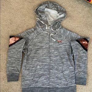 VS PINK zip up sequin hoodie